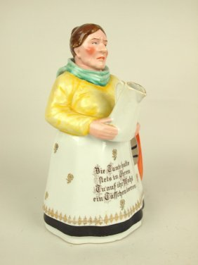 Porcelain Figural Coffee Pot In The Form Of A Lady With