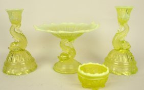 Northwood Vaseline Opalescent Dolphin Compote And Pair