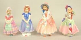 """Royal Doulton Lot Of 4-4"""" To 5"""" Lady Figures: Tootles,"""