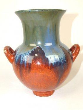 """Fulper Art Pottery Two Handled Vase, 8"""""""