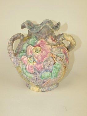 "Weller Silvertone 8"" Vase, Artist Signed Dorothy"