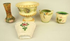 "Weller Lot Of 5 Pieces: Baldwin Apple Vase 7"", Roma"