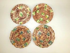 "Whieldon Lot Of 4-9 1/2"" Plates, Circa 1765, Rim Chips"