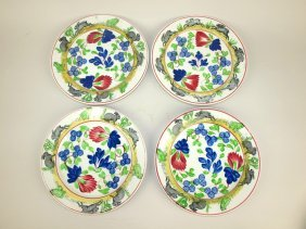 Stick Spatterware Set Of 4 Rabbit Plates, 9""