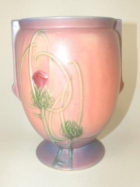 "Roseville Futura ""thistle"" Mauve Vase, #427-8"