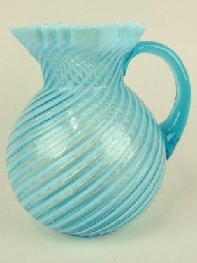 "Blue Opalescent Swirl Water Pitcher, 8 1/2"""
