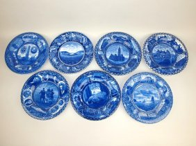 Blue And White Staffordshire Historical Plates Lot Of