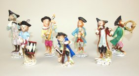 Meissen Porcelain 7 Piece Monkey Band Figures, 3 3/8""