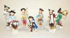 "Meissen Porcelain 7 Piece Monkey Band Figures, 3 3/8"""