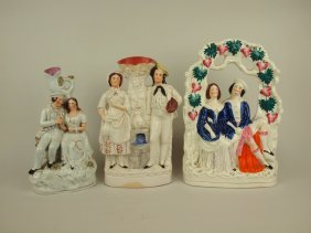 """Staffordshire Lot Of 3 Couple Figures, 11"""" To 13"""""""