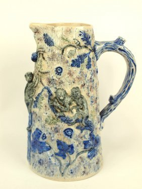 Blue Salt Glaze Stoneware Pitcher With Monkeys And Ivy,