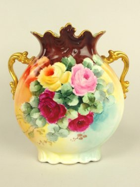 """J.p. France Hand Painted Two Handled Vase, 9 1/2"""""""