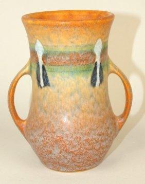 "Roseville Montacello Two Handled Vase, 5 1/4"""