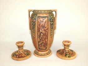 "Roseville Florentine 8"" Vase And Pair Of Candle Holders"