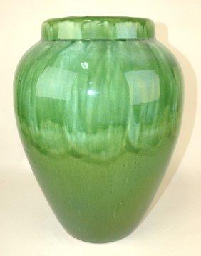 """Large Art Pottery Green Flower Vase, 18"""""""
