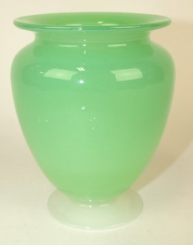 "Steuben Art Glass Jade And Alabaster Vase, 5"", Unsigned"