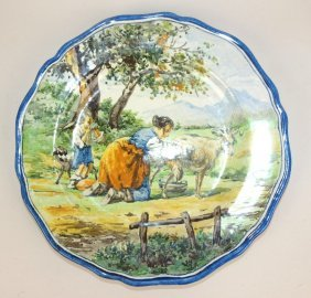 French Faience Plate With Scene Of Lady Milking Goat