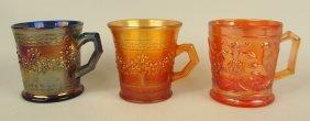 Lot Of 3 Carnival Glass Mugs: Cobalt And Marigold,