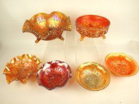Carnival Glass Imperial Lustre Rose Lot Of 6 Bowls