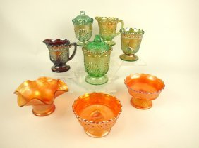 Carnival Glass Lot Of 8 Assorted Items