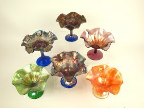 Carnival Glass Lot Of 6 Compotes