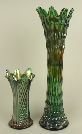 """Carnival Glass Lot Of 2 Green Vases, 7"""" And 16"""""""