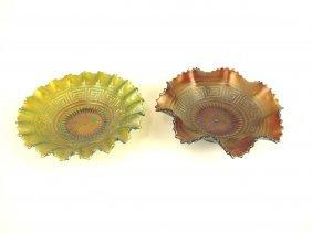 Northwood Greek Key Carnival Glass Bowls: 1 Green, 1
