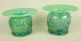 Fenton Green Opalescent Pair Of Frolicking Bears