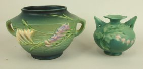 Roseville Lot Of 2 Pieces: Green Fressia Jardiniere