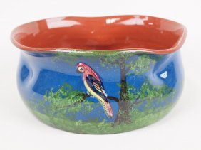 "Torquay Pottery Bowl With Bird Decoration, 8"" X 3 3/4"""