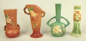 "Roseville Lot Of 4 Vases: Pink Apple Blossom 381-6"" And"