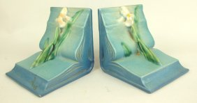 Roseville Blue Columbine Pair Of Bookends