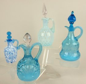 Blue Opalescent Glass Lot Of 4 Cruets