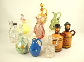 Lot Of 12 Glass And Ceramic Cruets And Castor Bottles,