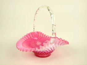 Fenton Cranberry Opalescent Hobnail Glass Basket, 10""