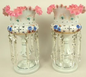 Bristol Glass Pair Of Mantle Candle Lustres With Enamel