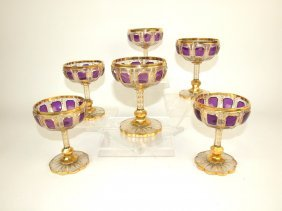 Moser Set Of 6 Goblets With Amethyst Panels And Heavy