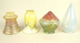 Art Glass Lot Of 4 Lamp Shades, One Signed Lustre Art