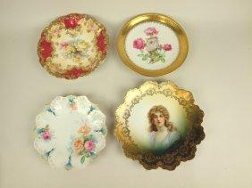 Lot Of 4 Porcelain Plates, One Portrait & 3 Floral (one