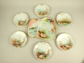 "French Limoges 7 Piece Porcelain Seafood Set: 11"" Tray"