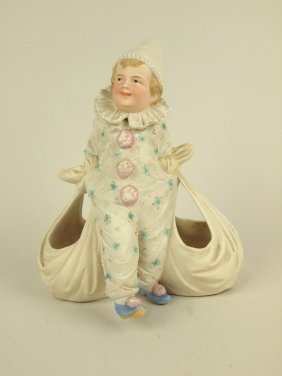 """German Bisque Figural Vase Of Clown With Two Sacks, 7"""""""