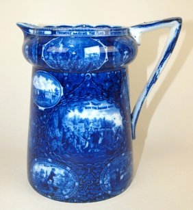 "Flow Blue ""discovery Of America"" Pitcher, L. Straus &"