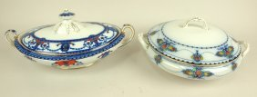 Flow Blue Lot Of 2 Tureens