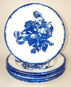 "Victoria Flow Blue Staffordshire Set Of 6-11"" Plates,"