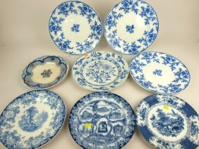 Flow Blue Lot Of 8 Plates, Various Conditions