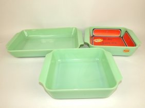 Fire King Jadeite Lot Of 3 Baking Dishes