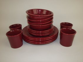 Fiesta Post 86 Lot Of 16 Cinnabar Pieces: 4 Place