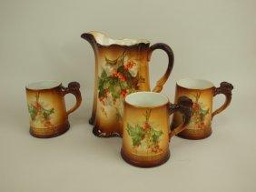 Laughlin Art China Pitcher & 3 Mugs