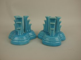 Fiesta Pair Tripod Candle Holders, Turquoise