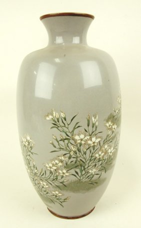 "Cloisonne' large vase with floral motif, 12"""